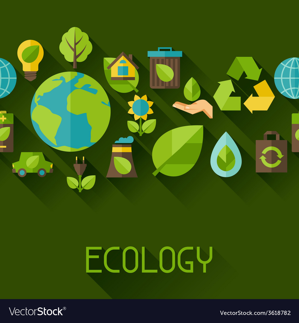 Ecology seamless pattern with environment icons vector | Price: 1 Credit (USD $1)
