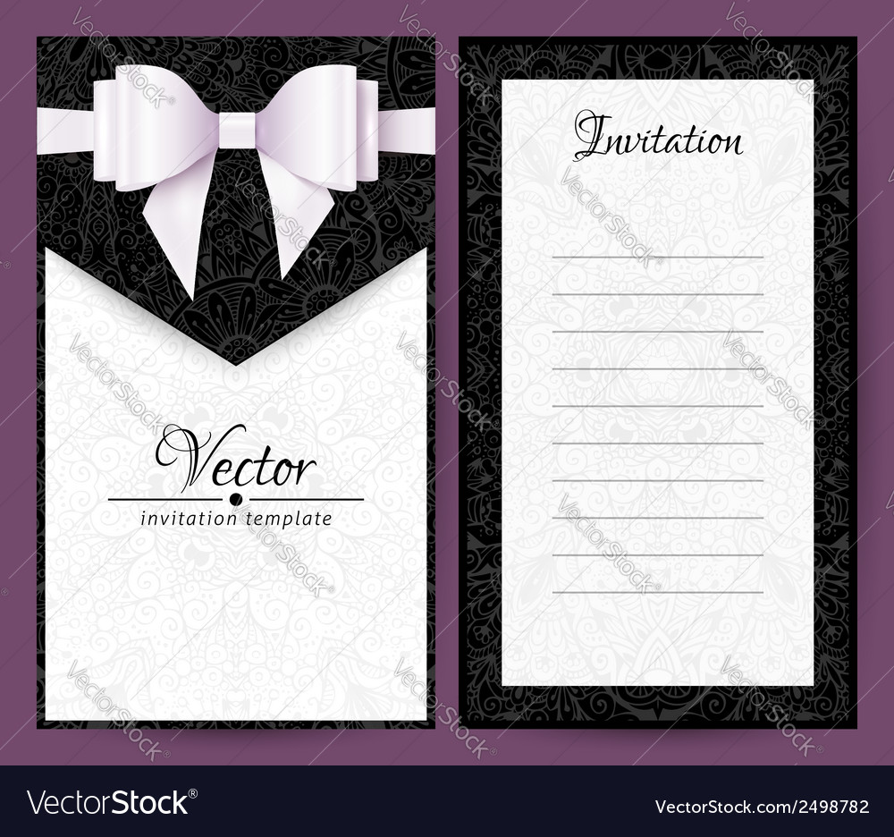 Elegant black and white wedding invitation vector | Price: 1 Credit (USD $1)