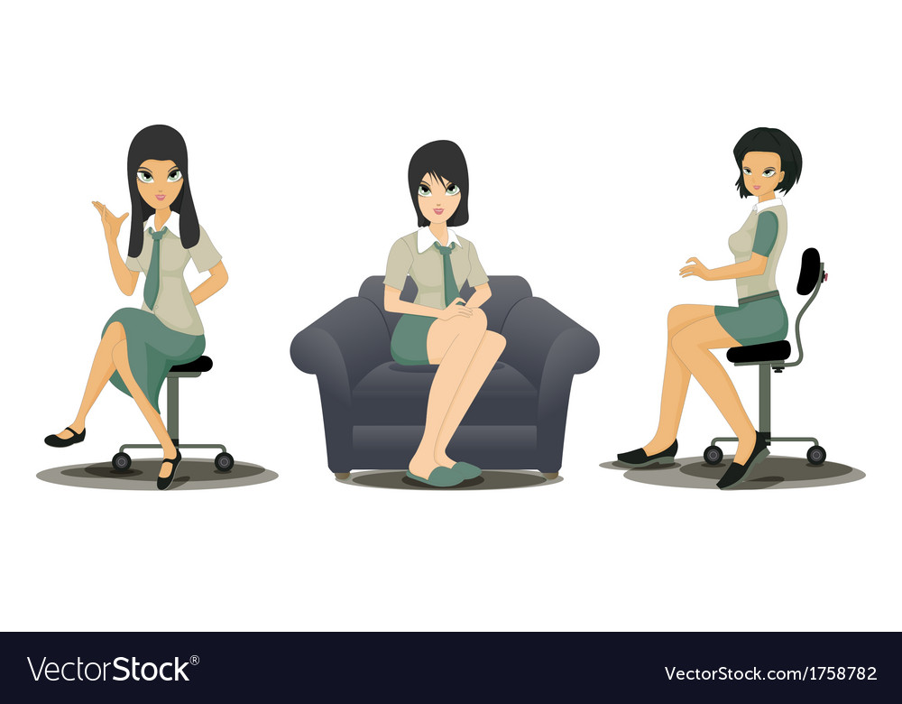 Employees working women vector | Price: 1 Credit (USD $1)