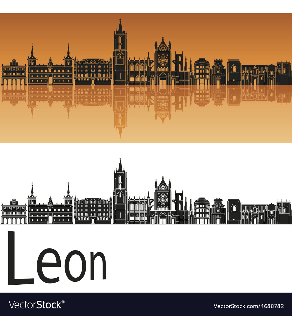 Leon skyline in orange background in editable file vector | Price: 1 Credit (USD $1)