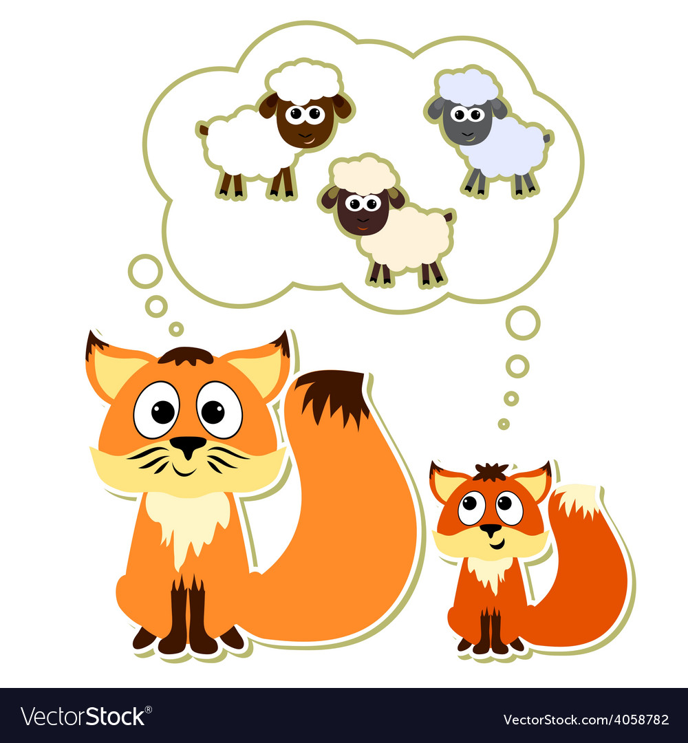 Little fox with his father dreaming about sheep vector | Price: 1 Credit (USD $1)