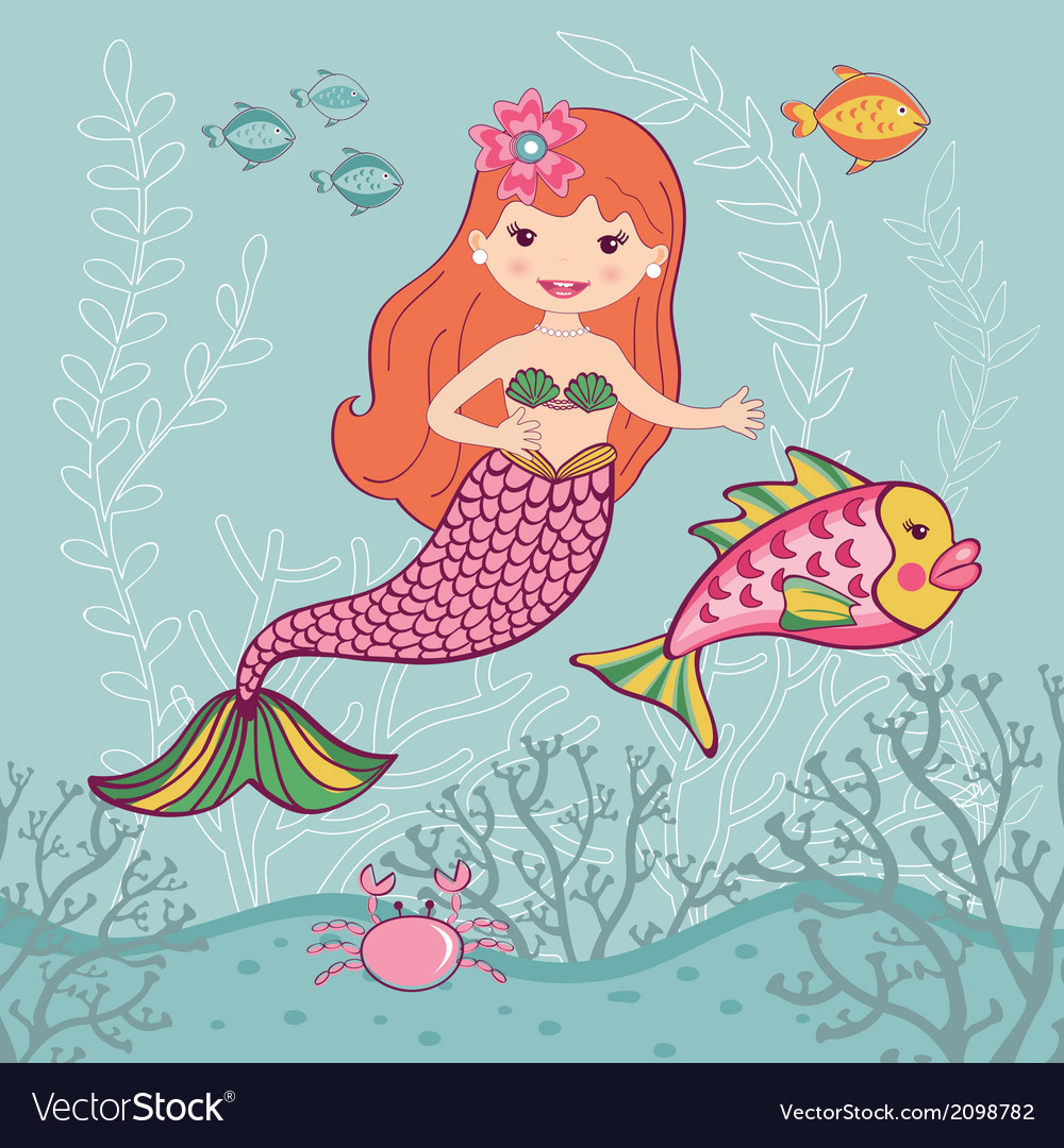 Little mermaid and big fish vector | Price: 1 Credit (USD $1)