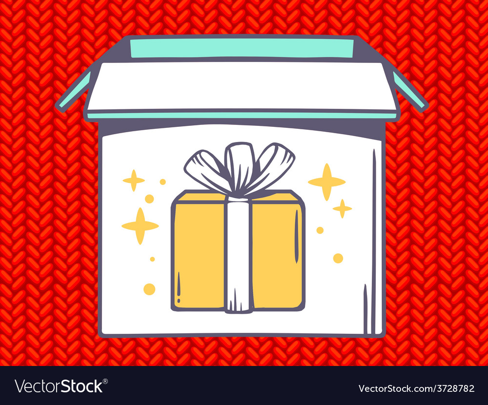 Open box with icon of gift box on red je vector | Price: 1 Credit (USD $1)