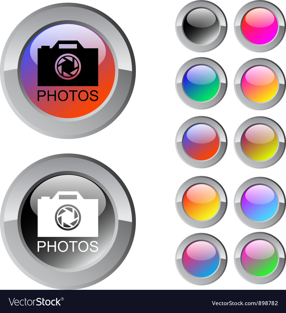 Photos multicolor round button vector | Price: 1 Credit (USD $1)