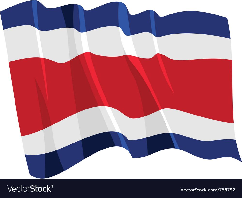 Political waving flag of costa rica vector | Price: 1 Credit (USD $1)