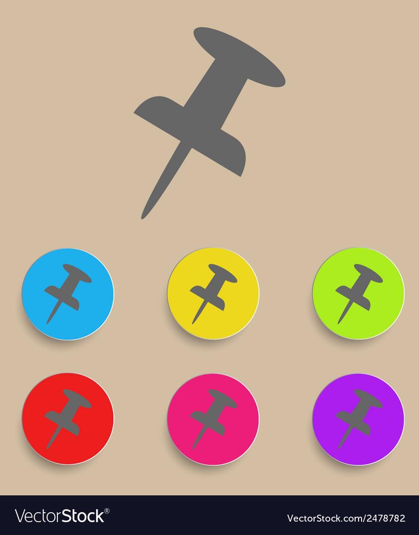 Push pin icon - flat design vector | Price: 1 Credit (USD $1)