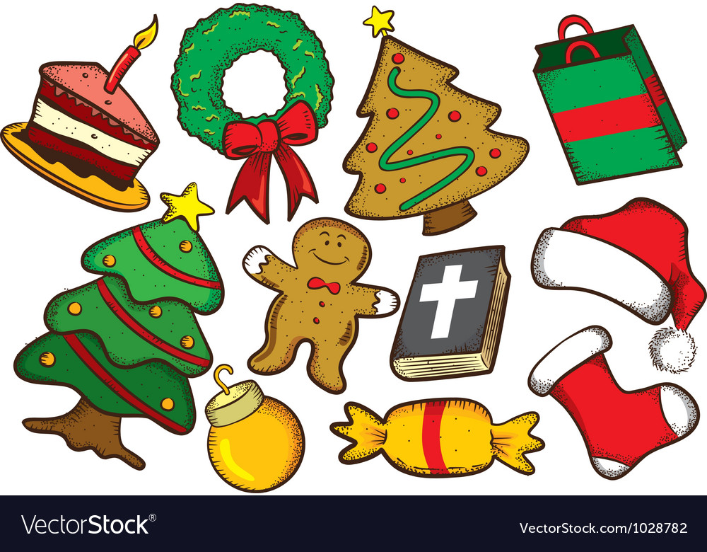 Set of colorful christmas stuff vector | Price: 3 Credit (USD $3)