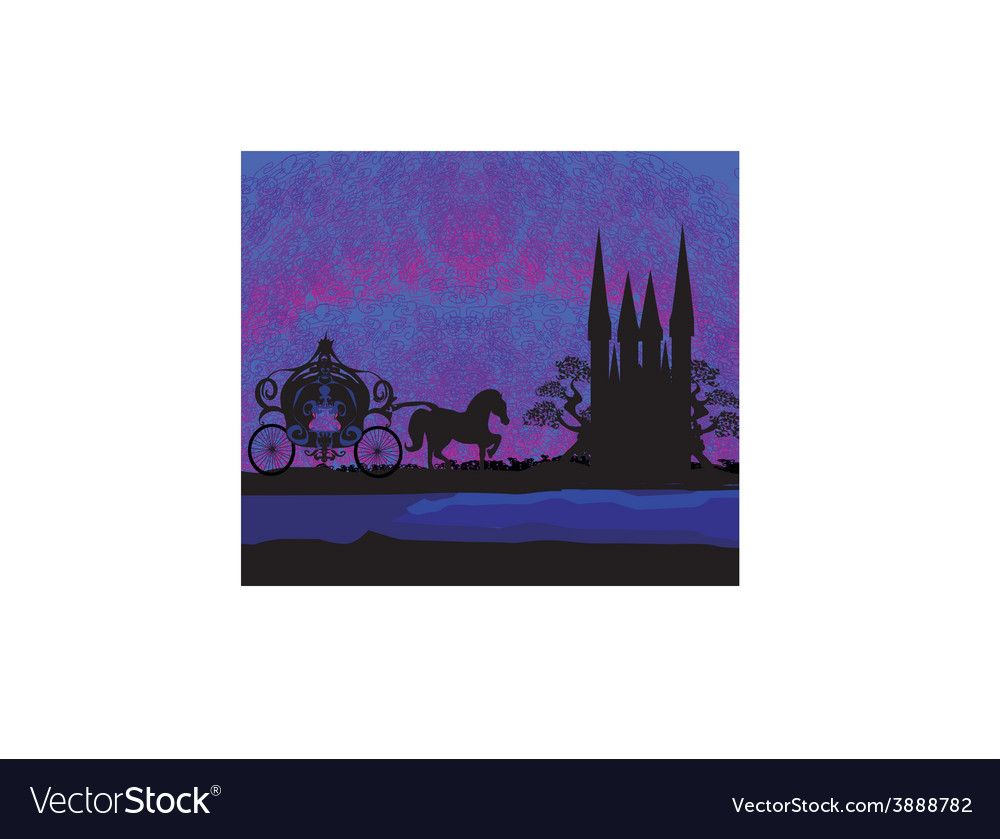 Silhouette of a horse carriage and a medieval vector | Price: 1 Credit (USD $1)
