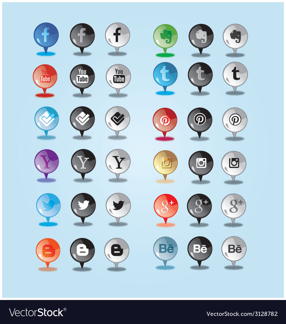 Sleek and shine pin social media icon vector | Price: 1 Credit (USD $1)