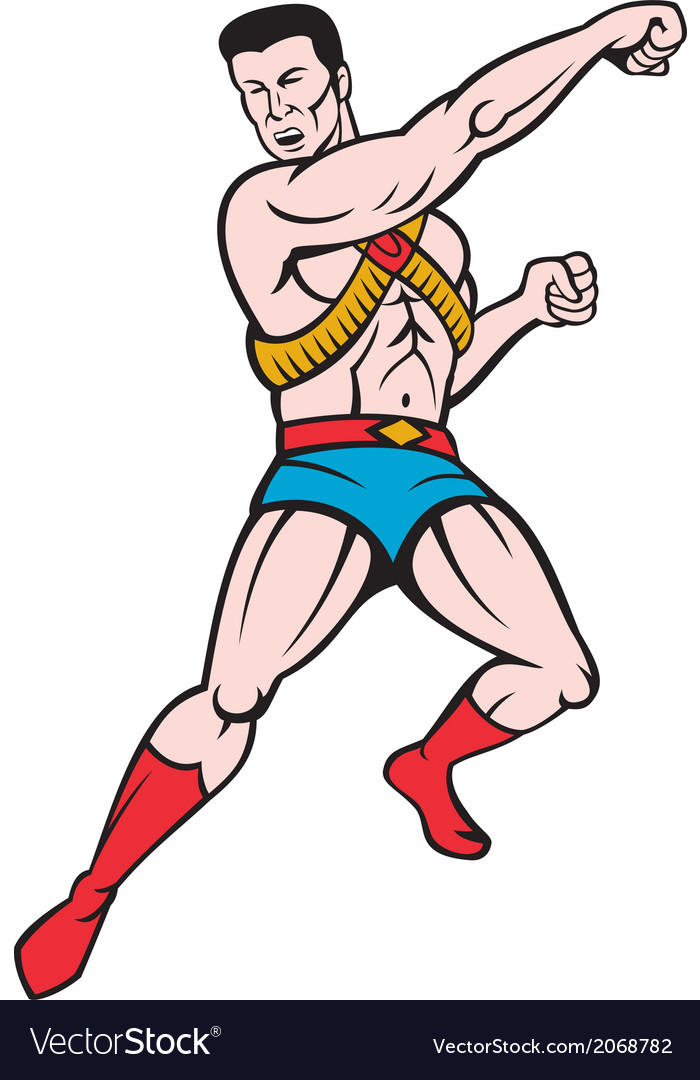 Superhero punching cartoon vector | Price: 1 Credit (USD $1)