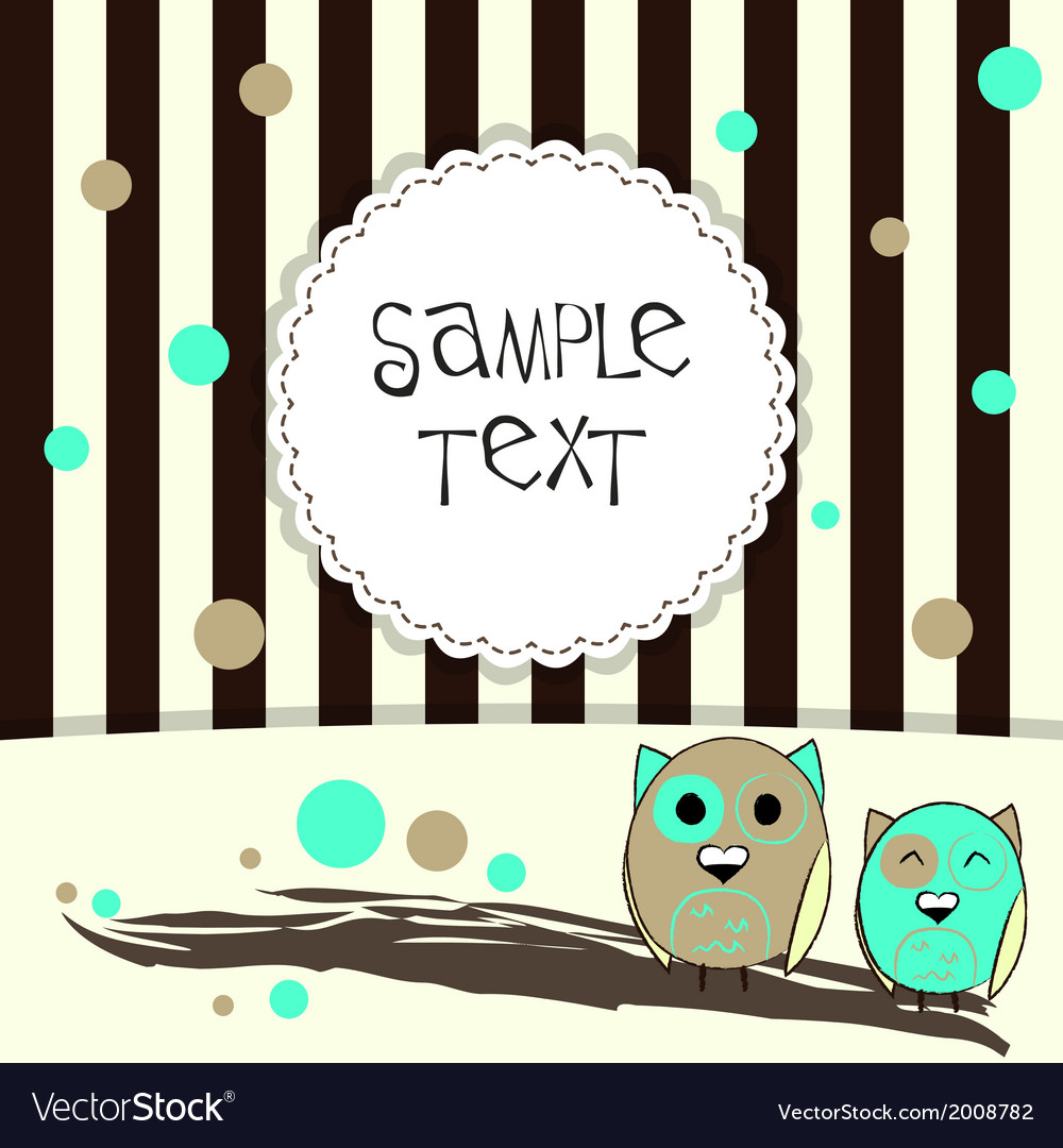 Template postcard with two cute owls vector | Price: 1 Credit (USD $1)