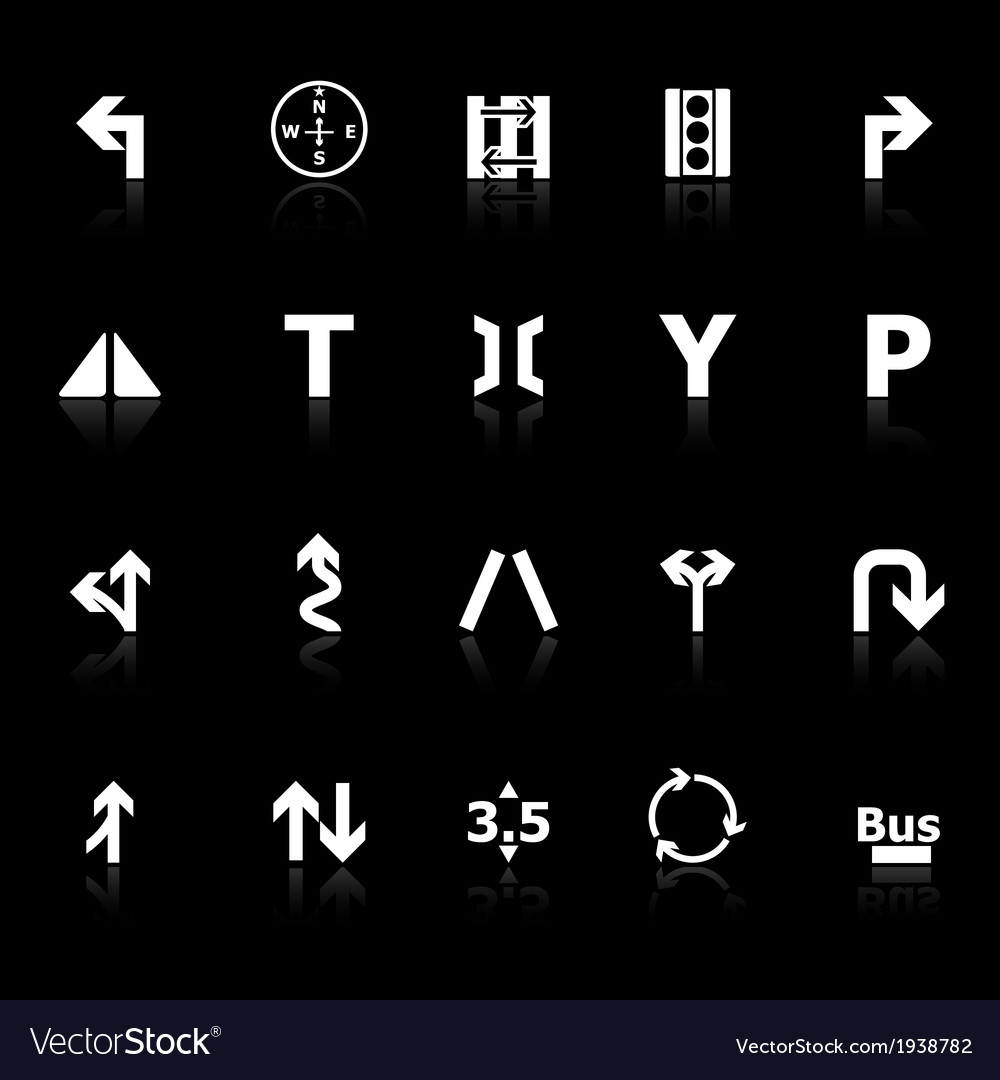 Traffic sign icons with reflect on black vector | Price: 1 Credit (USD $1)