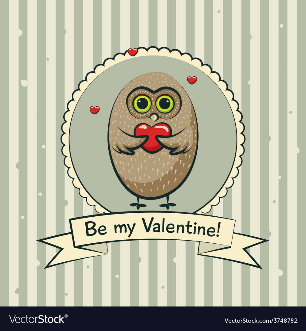 Valentines day greeting card with owls vector | Price: 1 Credit (USD $1)