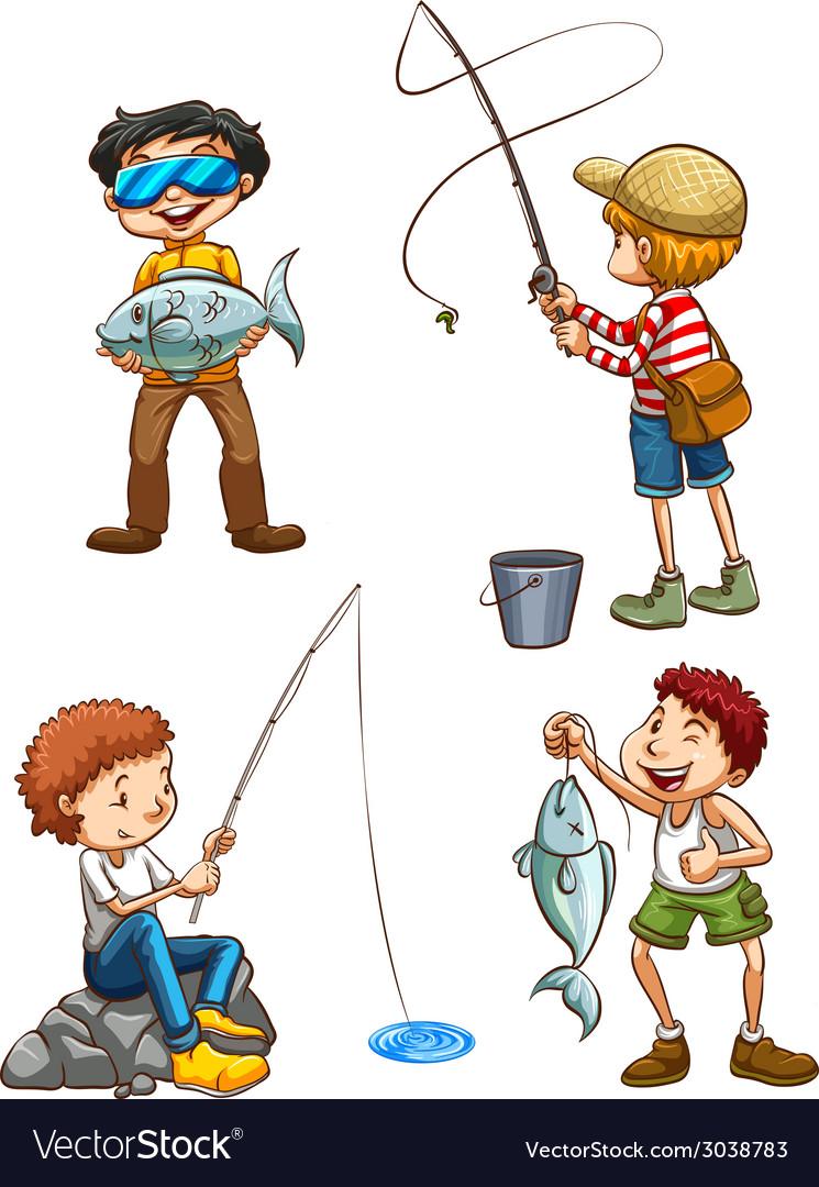 A sketch of men fishing vector | Price: 1 Credit (USD $1)