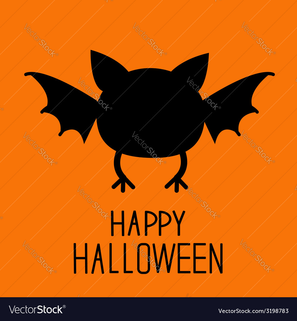 Black bat silhouette happy halloween card flat des vector | Price: 1 Credit (USD $1)