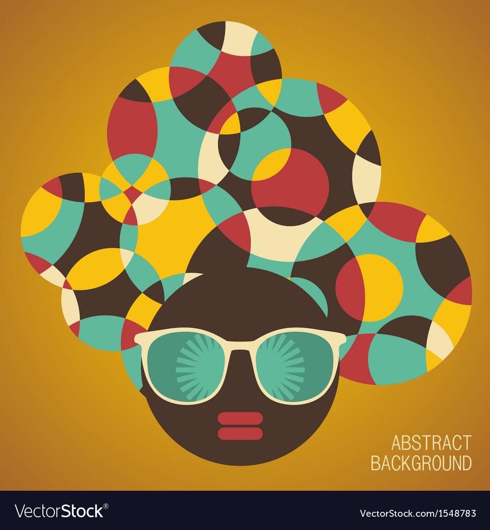 Black head woman with strange hair vector