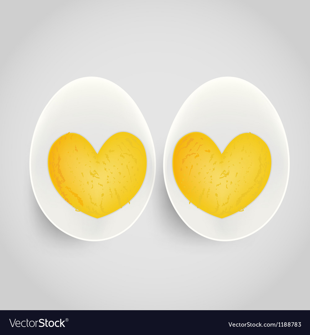 Boiled egg with yolk in heart shape vector | Price: 3 Credit (USD $3)