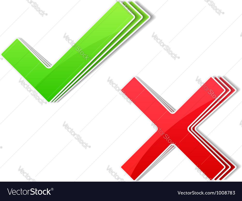 Check and cross symbols vector | Price: 3 Credit (USD $3)