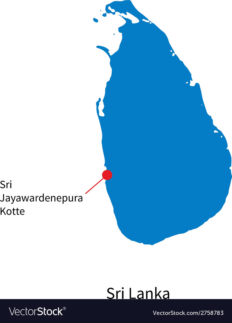 Detailed map of sri lanka and capital city sri vector   Price: 1 Credit (USD $1)