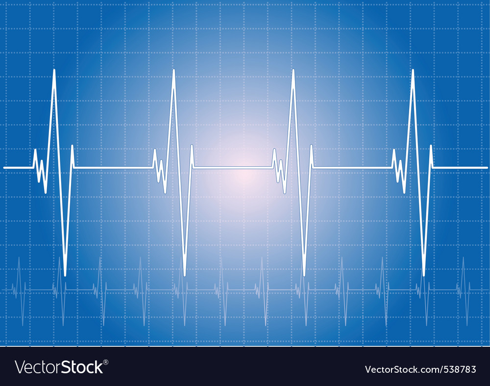 Heart rhythm on the blue display vector | Price: 1 Credit (USD $1)