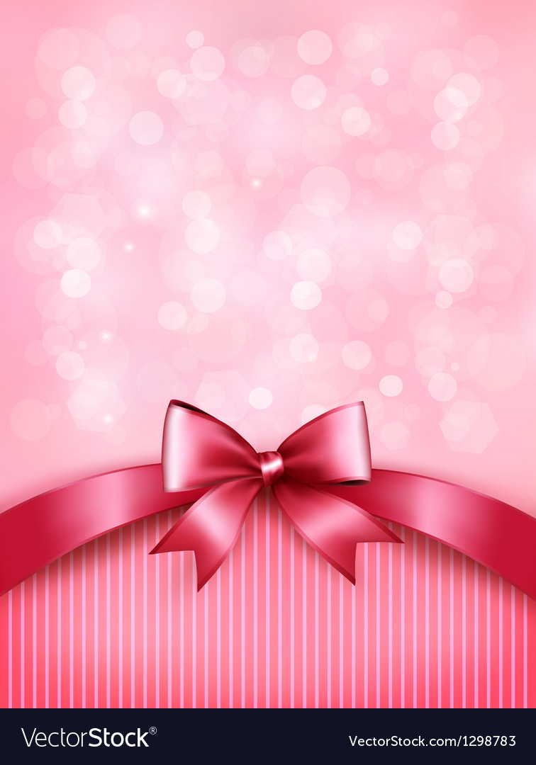 Holiday pink background with gift glossy bow and vector | Price: 1 Credit (USD $1)