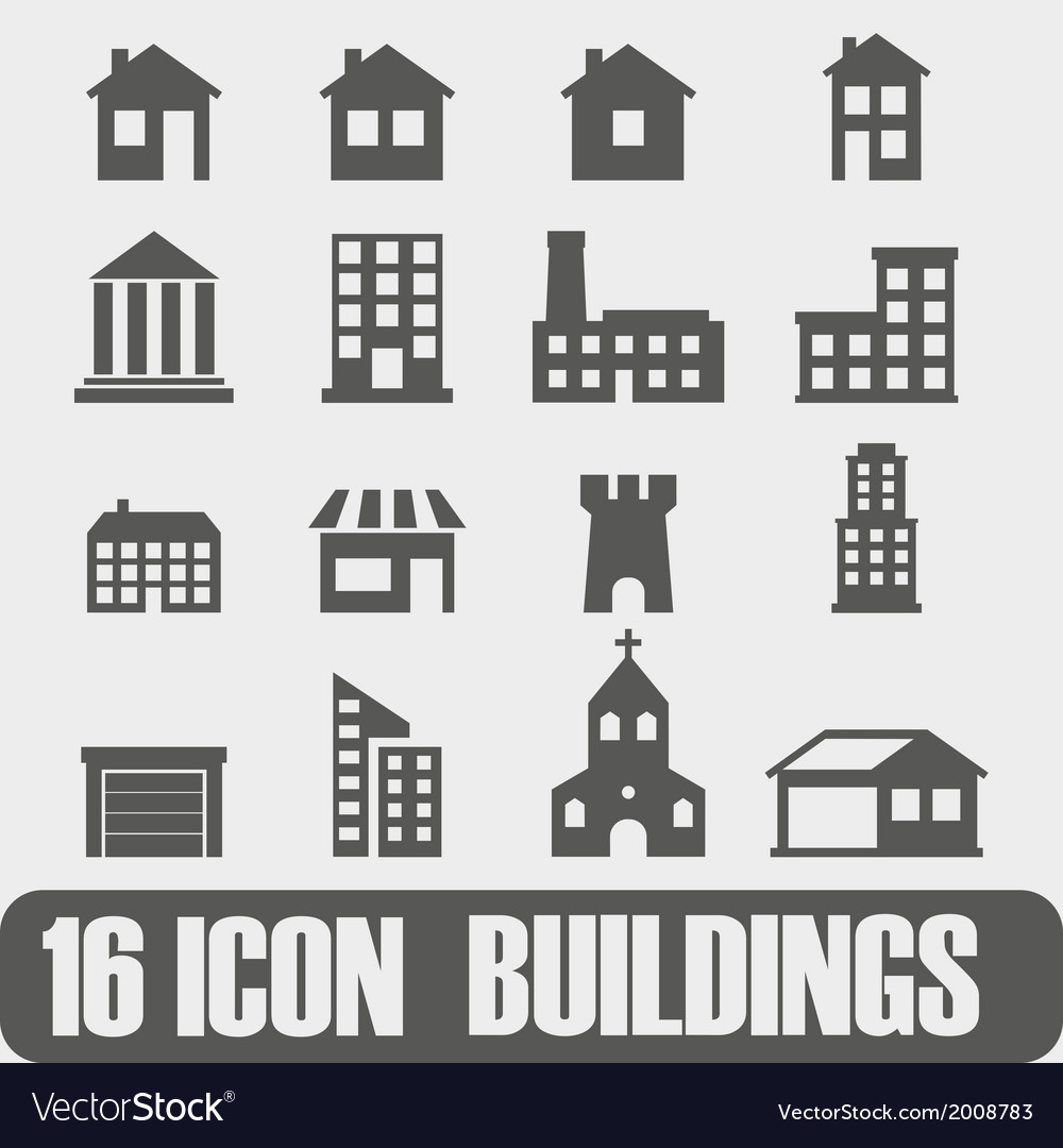 Icon buildings on white background vector | Price: 1 Credit (USD $1)