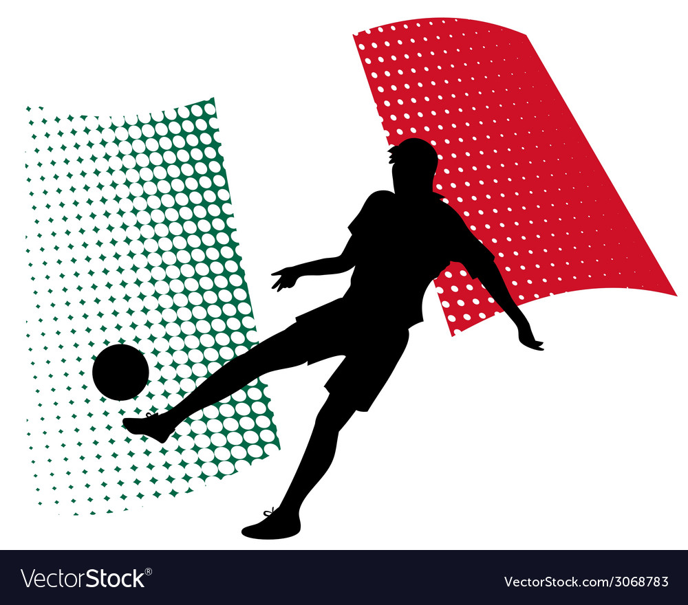 Mexico soccer player against national flag vector | Price: 1 Credit (USD $1)
