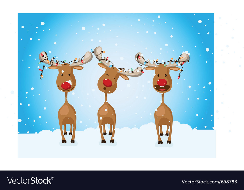 Reindeer celebrating winter holidays vector | Price: 3 Credit (USD $3)
