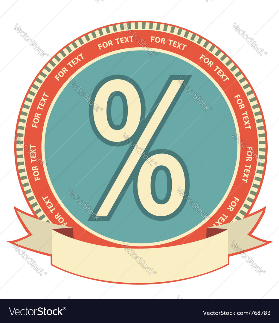 Retro percentage label vector | Price: 1 Credit (USD $1)