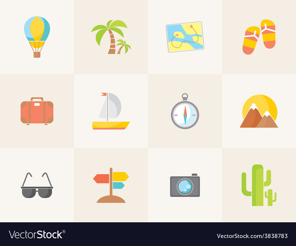 Summer icons flat design trend vector   Price: 1 Credit (USD $1)