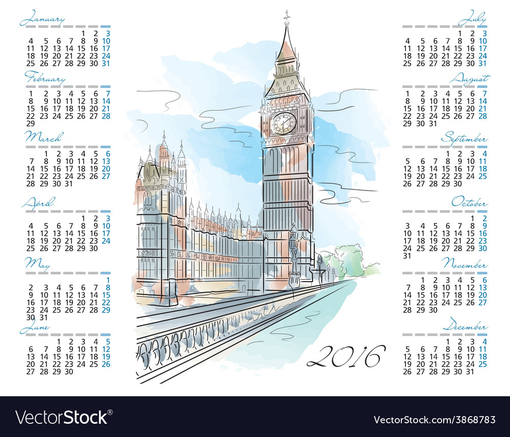 Template of 2016 calendar with big ben vector | Price: 1 Credit (USD $1)