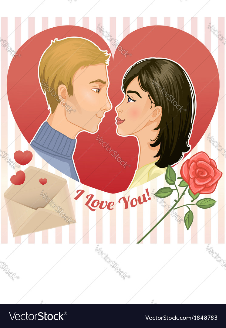 Young couple in a red heart eps10 vector | Price: 3 Credit (USD $3)