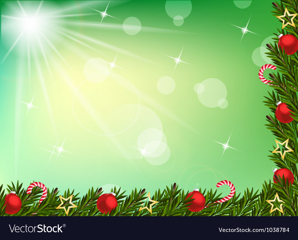 Christmas background with balls and decoration vector | Price: 1 Credit (USD $1)