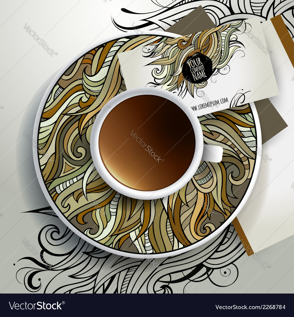Cup of coffee and floral ornament vector | Price: 1 Credit (USD $1)