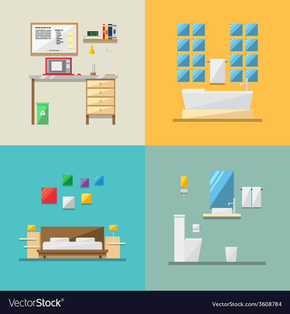 Flat design of house interior vector | Price: 1 Credit (USD $1)