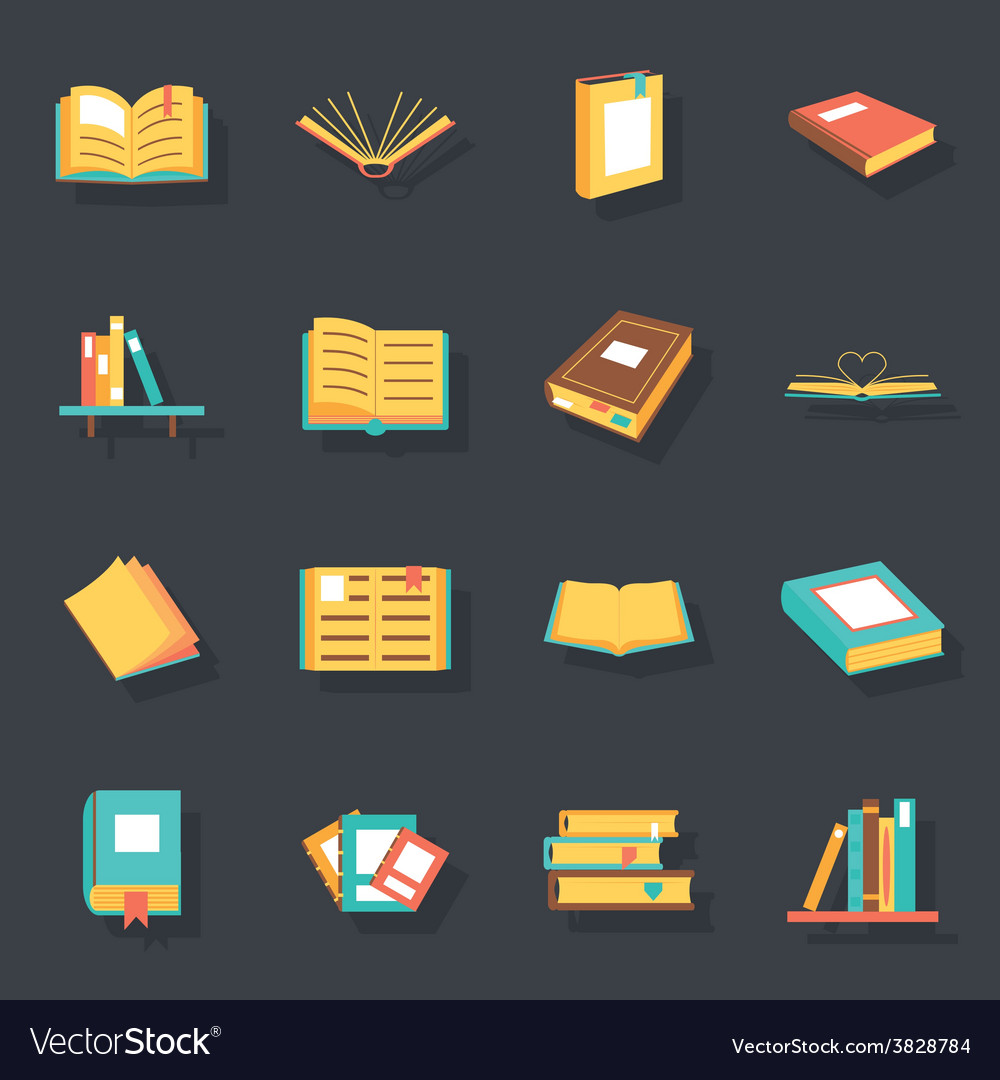 Flat isometric book icons symbols logos isolated vector | Price: 3 Credit (USD $3)
