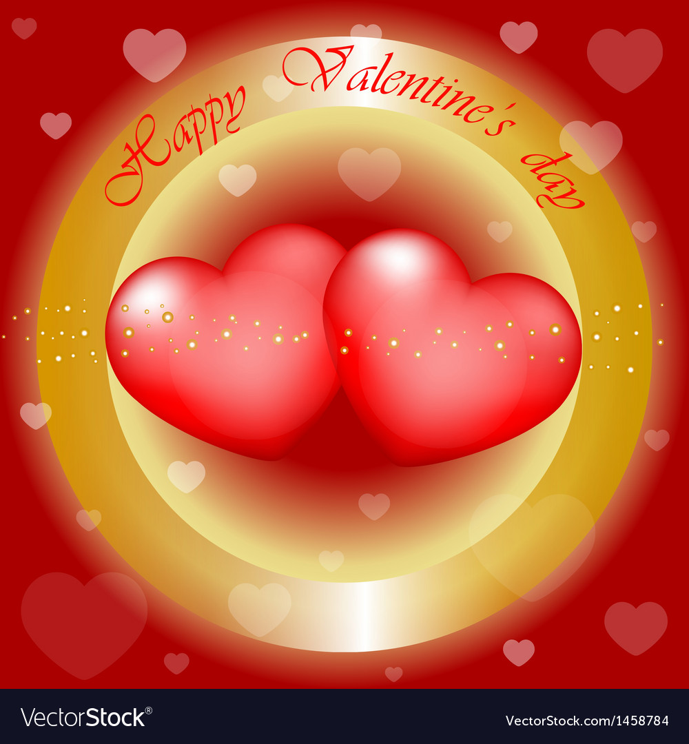Happy valentines day gold and red background vector   Price: 1 Credit (USD $1)