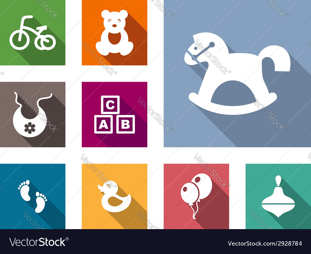 Kid stuff flat icons set vector | Price: 1 Credit (USD $1)
