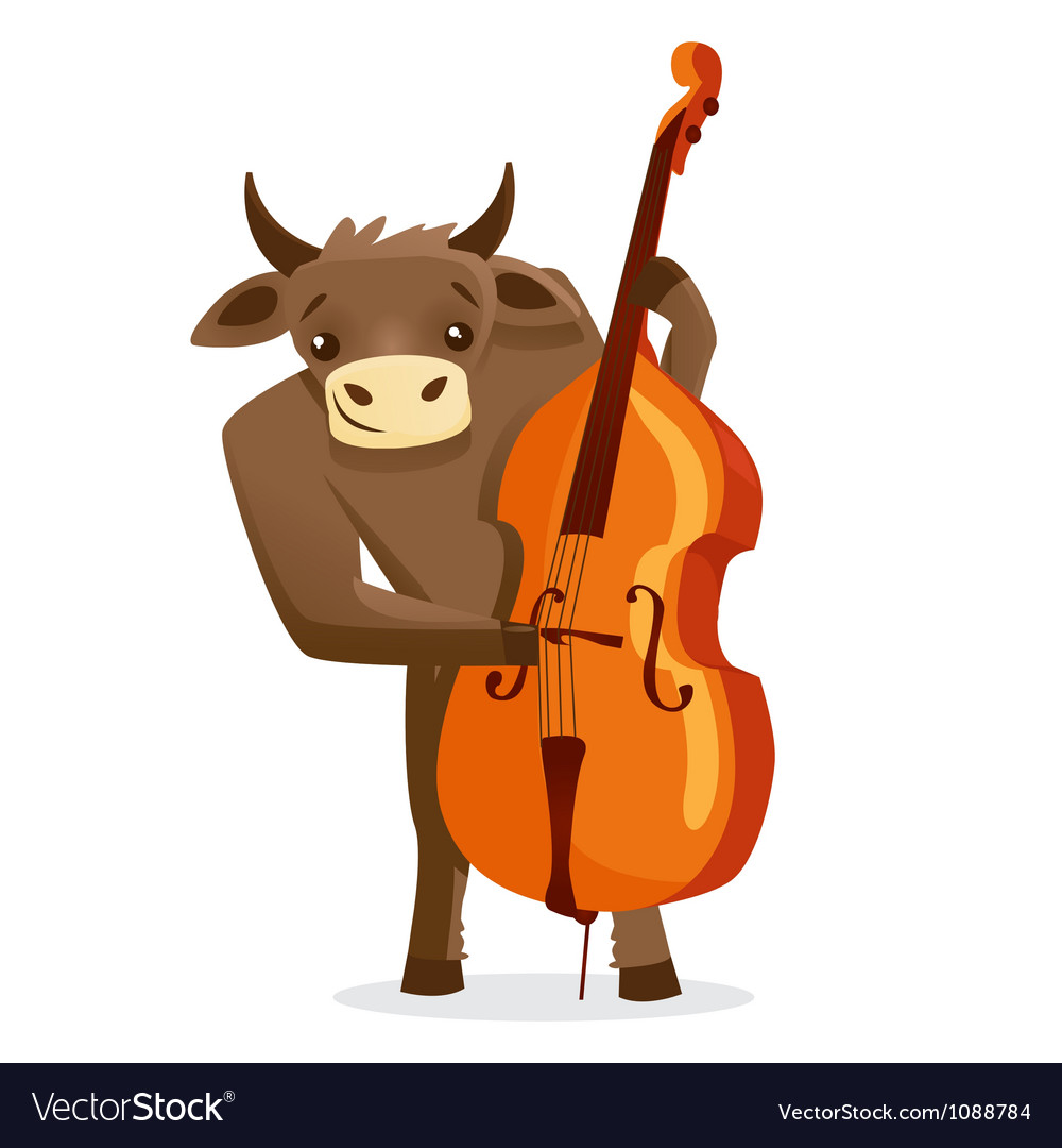 Musical animals bull bass vector | Price: 1 Credit (USD $1)