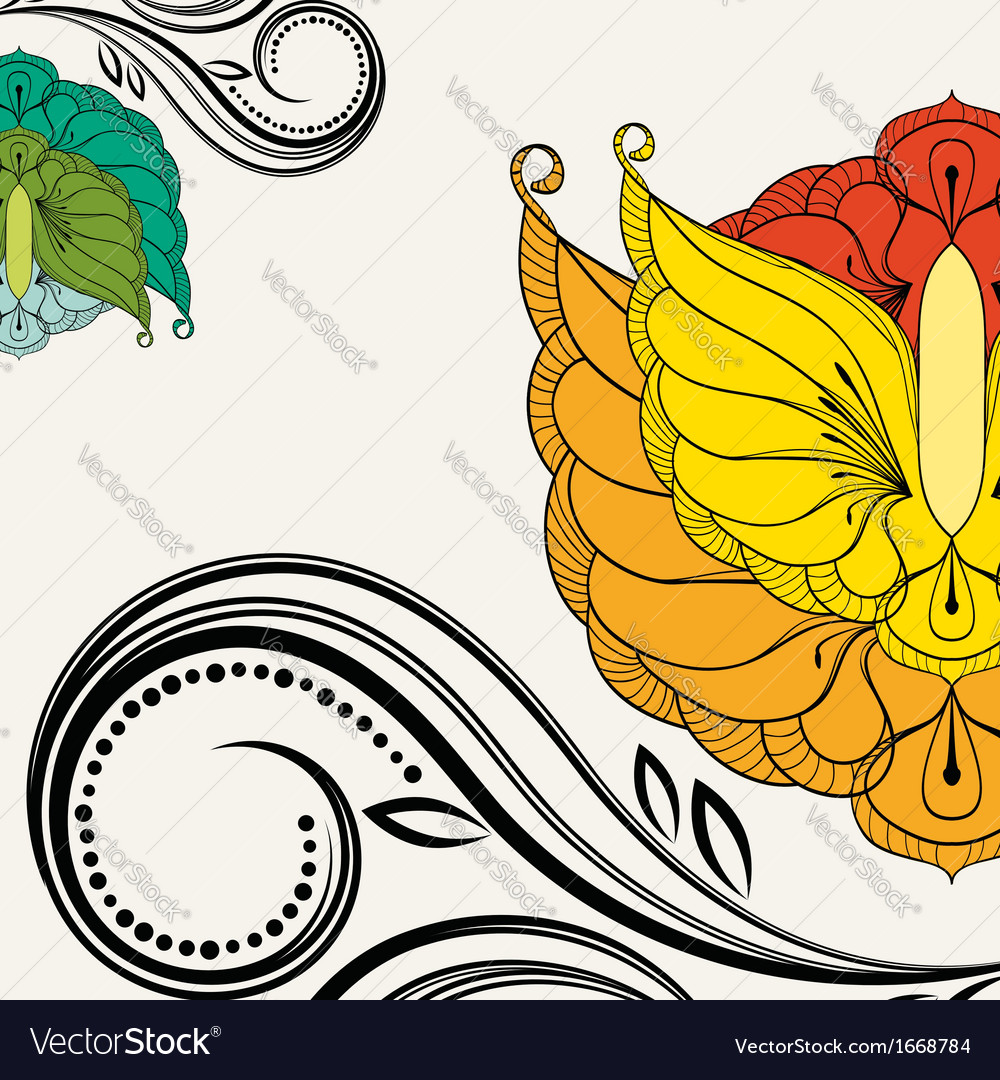 Oriental floral background element for design vector | Price: 1 Credit (USD $1)