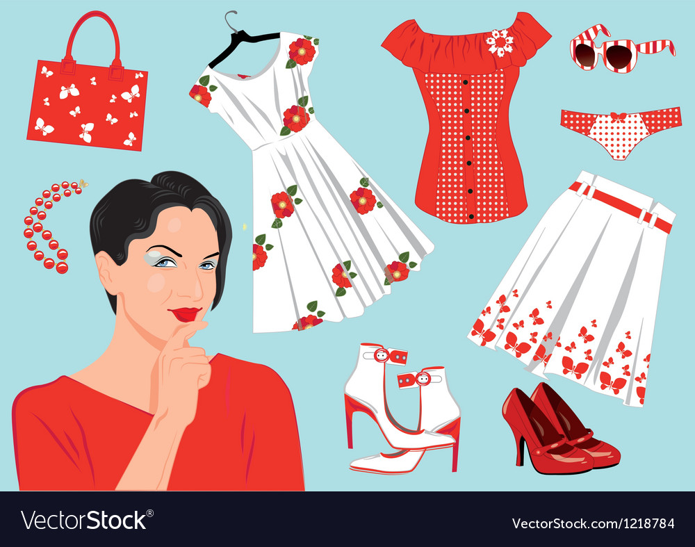Woman choose clothes vector | Price: 1 Credit (USD $1)