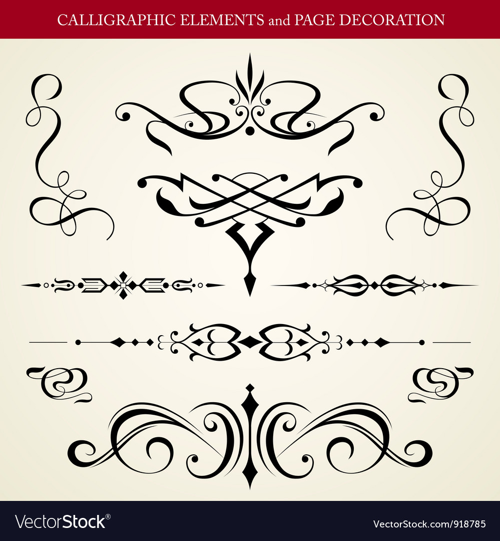 Calligraphic elements and page decoration vector | Price: 1 Credit (USD $1)
