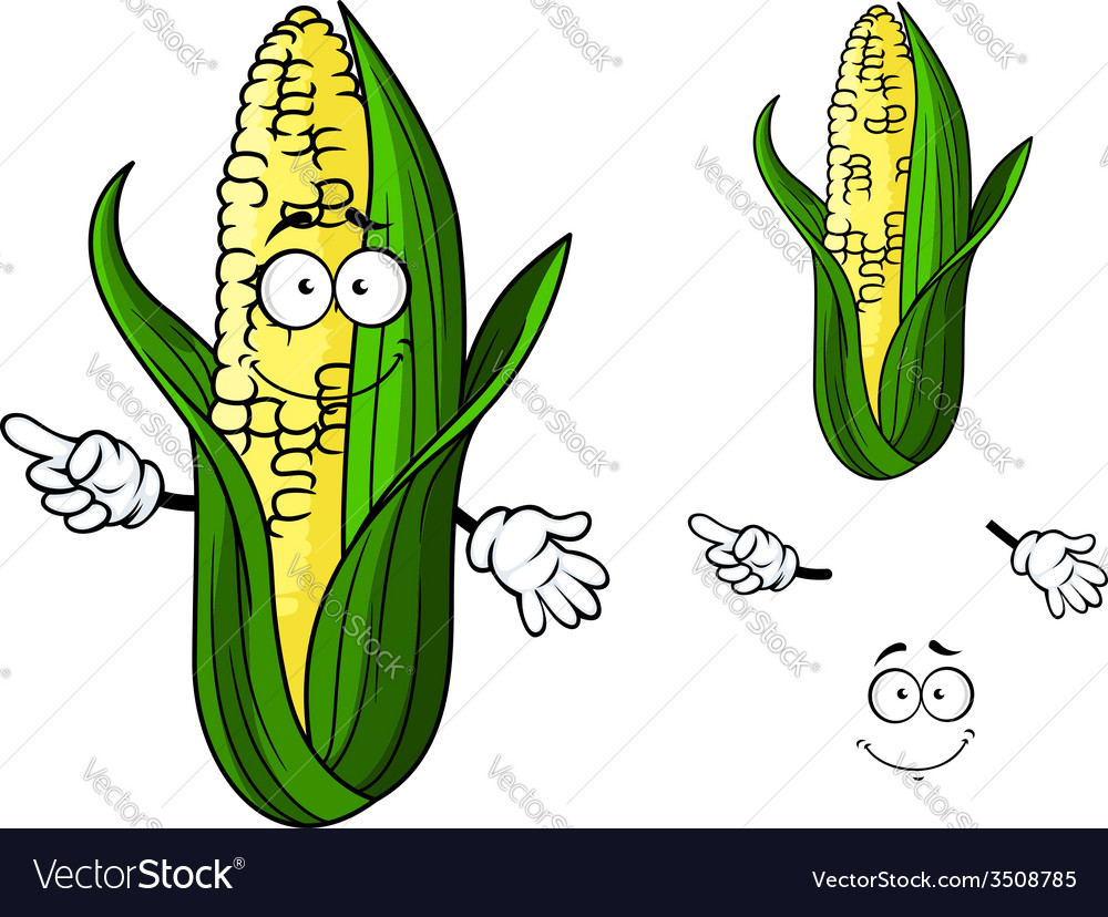 Cartoon ear of corn pointing vector | Price: 1 Credit (USD $1)