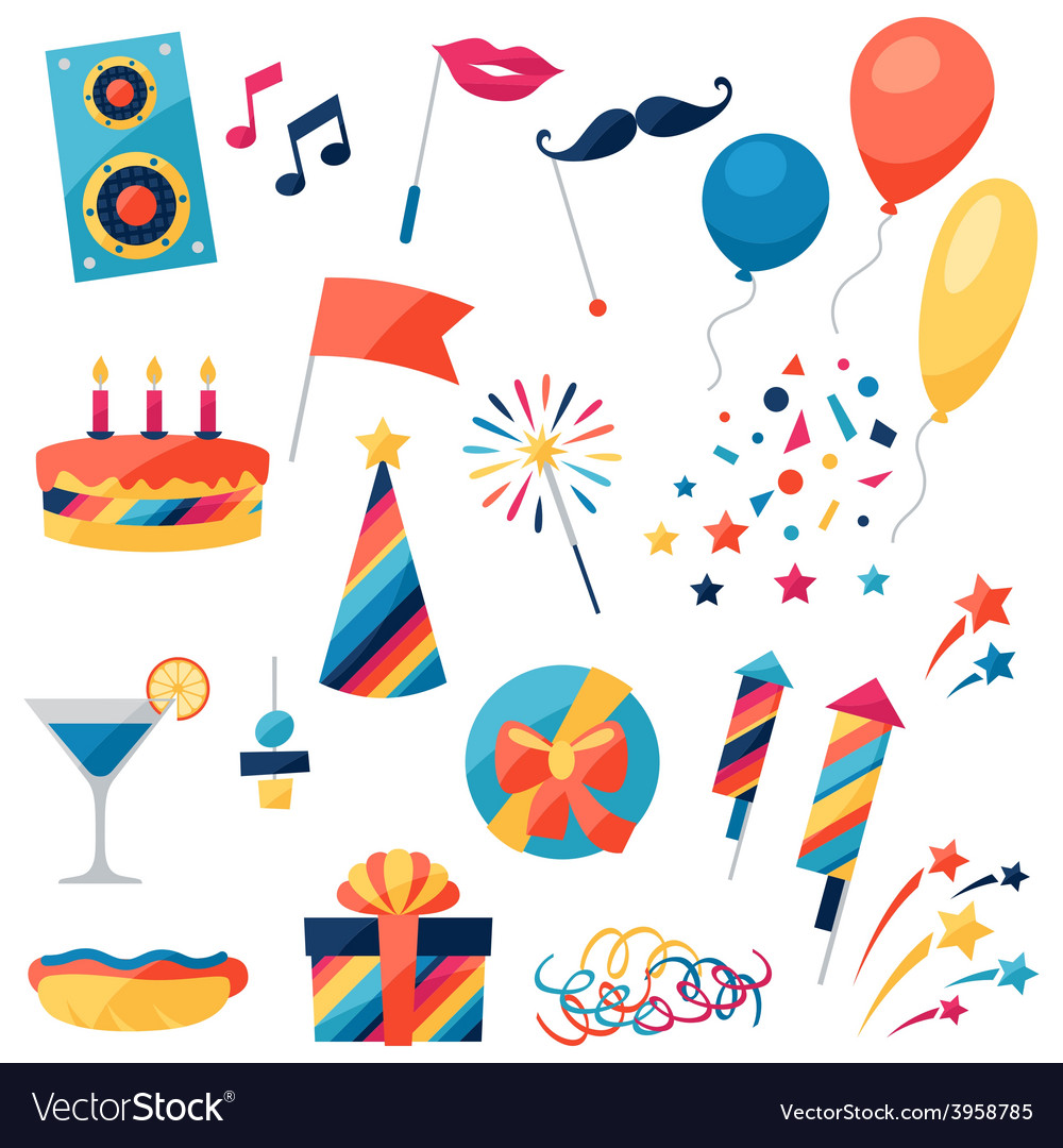 Celebration set of party icons and objects vector | Price: 1 Credit (USD $1)
