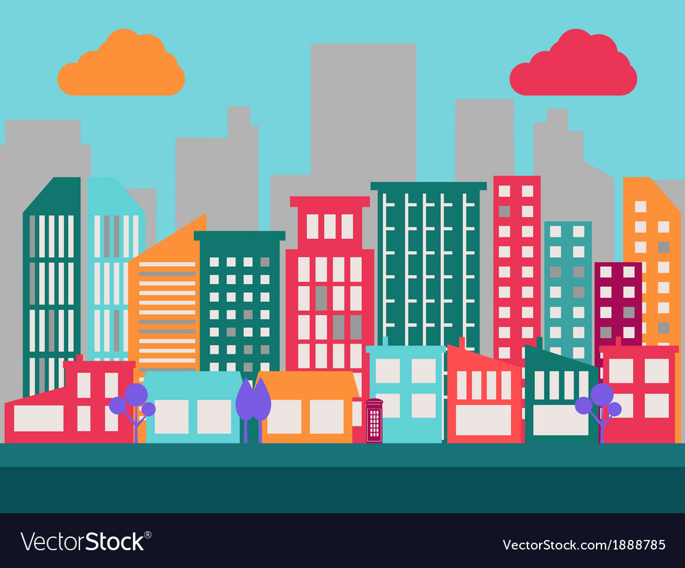 Flat city scene 1 vector | Price: 1 Credit (USD $1)