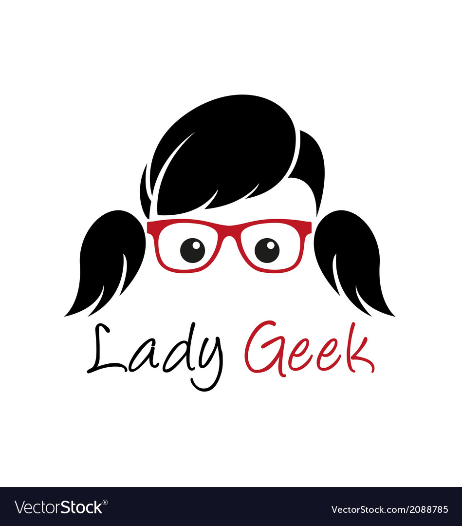 Lady geek logo vector | Price: 1 Credit (USD $1)
