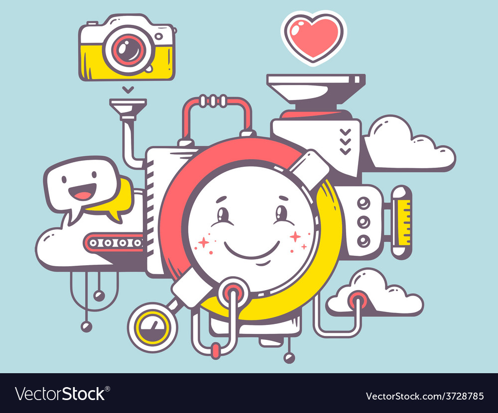 Mechanism with smile and relevant icons o vector | Price: 1 Credit (USD $1)
