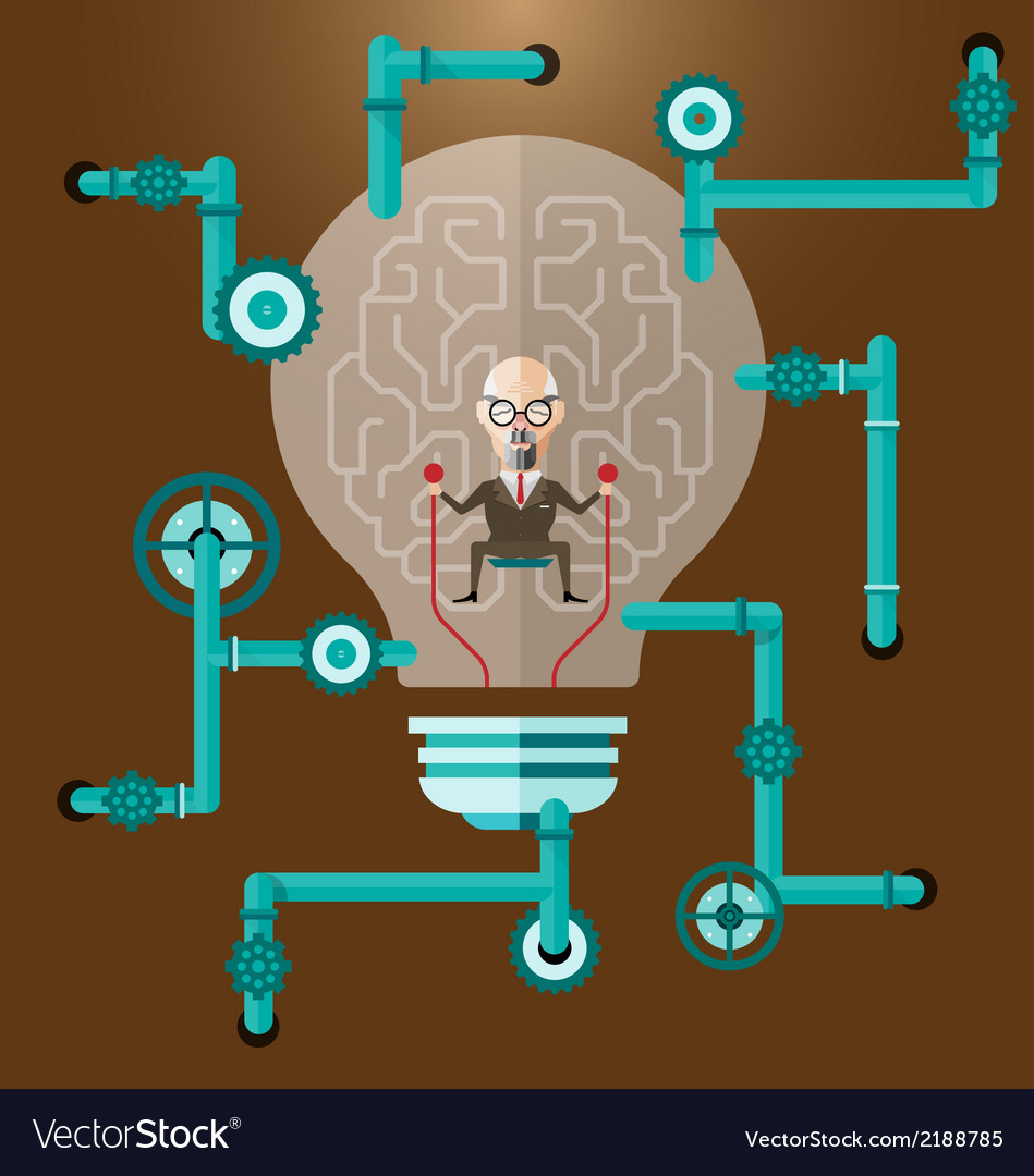 Old business man create ideas concept vector | Price: 1 Credit (USD $1)