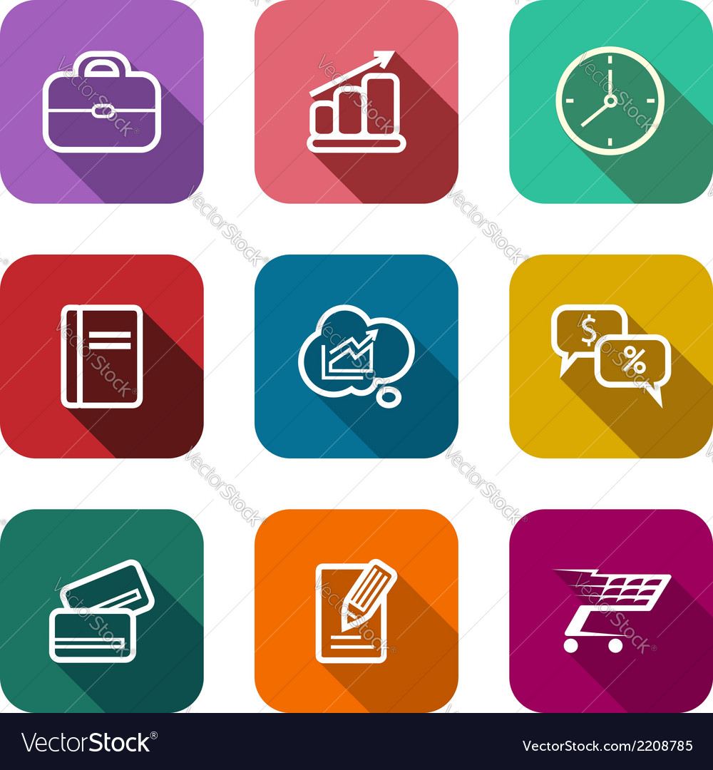 Set of flat business web icons vector | Price: 1 Credit (USD $1)