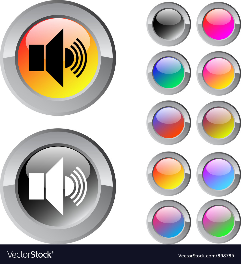 Sound multicolor round button vector | Price: 1 Credit (USD $1)